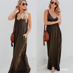 Dresses & Skirts - Olive green maxi boho cami pockets oversized dress